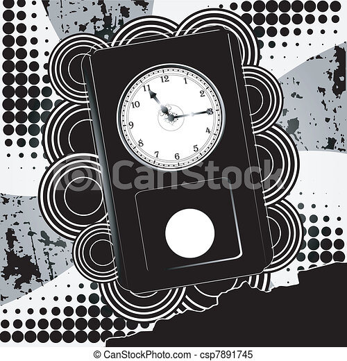 Vector illustration of abstract background with clock - csp7891745