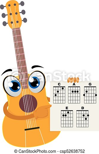 Vector illustration of acoustic guitar holding a paper with chords ...