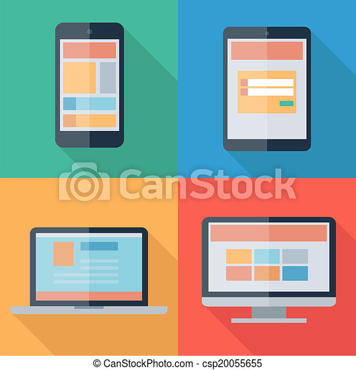 Vector illustration of adaptive web design on electronic devices phone, tablet, notebook, monitor - csp20055655