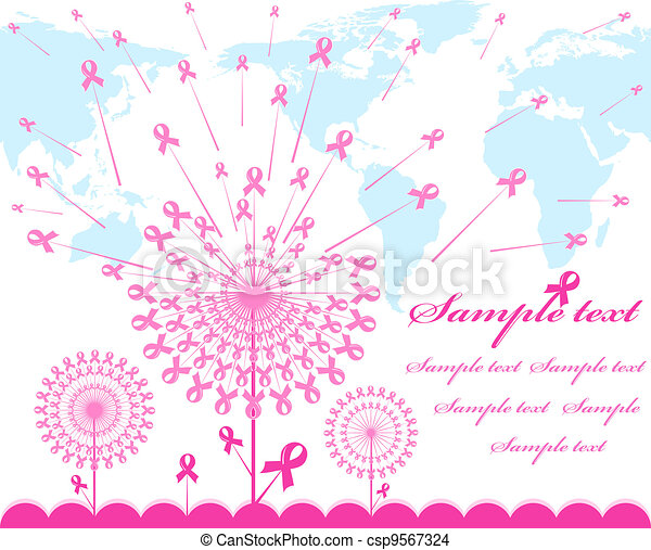 vector illustration of an abstract pink Support Ribbon  background with map silhouette  - csp9567324