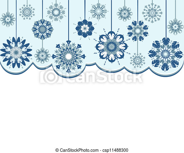 Vector illustration of an abstract snowflakes background - csp11488300