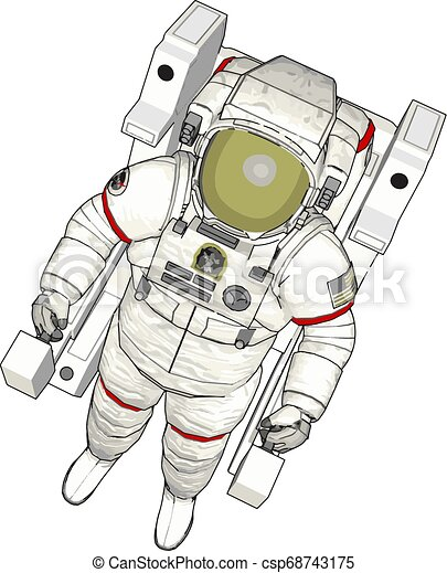 Vector illustration of an astronaut white background - csp68743175