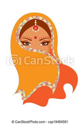 Vector  illustration of an Indian woman - csp19484591