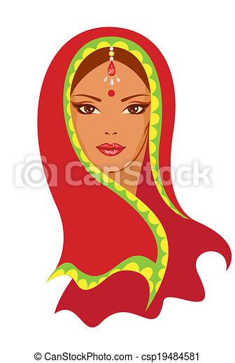 Vector  illustration of an Indian woman - csp19484581