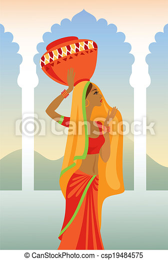 Vector  illustration of an Indian woman carries a jug on her hea - csp19484575