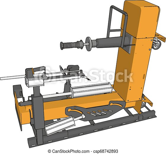 Vector illustration of an yellow bore lathe white background - csp68742893