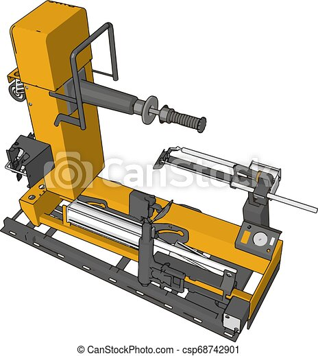 Vector illustration of an yellow bore lathe white background - csp68742901