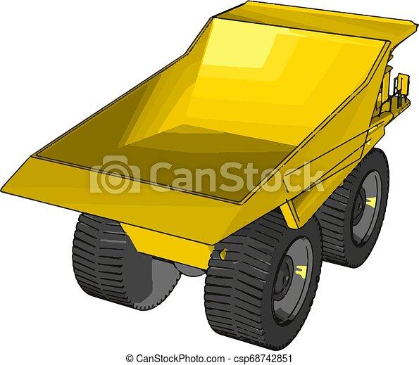 Vector illustration of an yellow dumper truck white background - csp68742851
