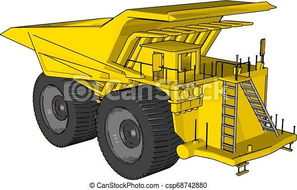 Vector illustration of an yellow dumper truck white background - csp68742880