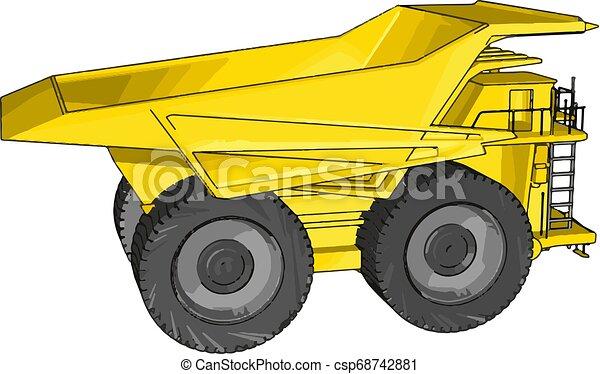 Vector illustration of an yellow dumper truck white background - csp68742881