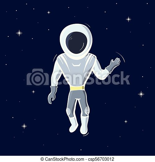 Vector Illustration Of Astronaut Floating In Space Planet