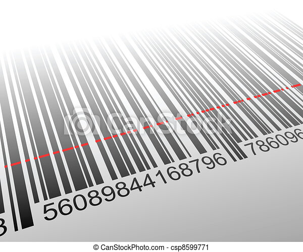 Vector illustration of barcode with laser effect - csp8599771