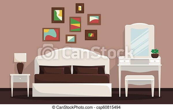 Vector illustration of bedroom interior with bed and trellis. - csp60815494