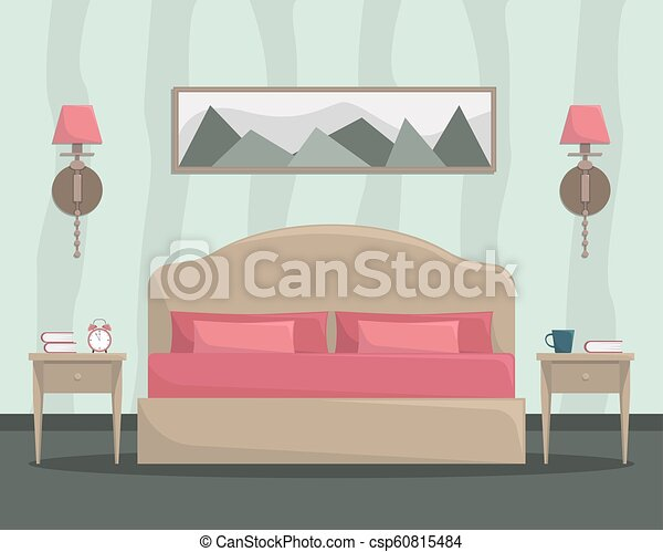 Vector illustration of bedroom interior with bed and bedside tables. - csp60815484