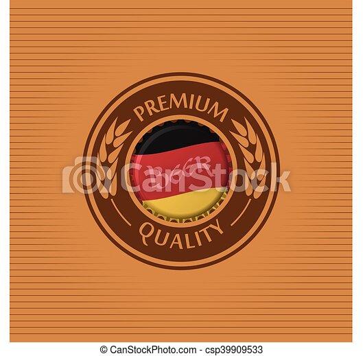 Vector Illustration Of Beer Label Background With Bottle Cap