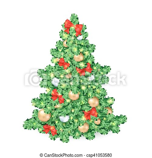 Christmas Tree Bows White.Vector Illustration Of Big Christmas Tree Decorated White And Golden Christmas Ornaments And Red Ribbon Bows