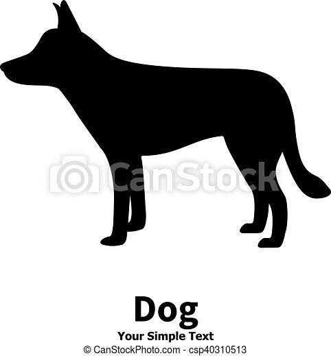 Vector illustration of black dog silhouette - csp40310513
