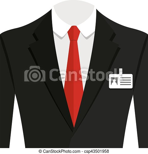 Vector illustration of  black man suit with red tie and white shirt - csp43501958