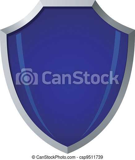 Vector illustration of blue glass shield in a steel frame - csp9511739