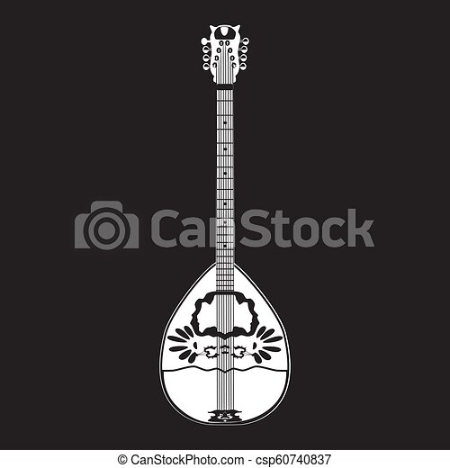 Vector illustration of bouzouki, greek folk musical instrument