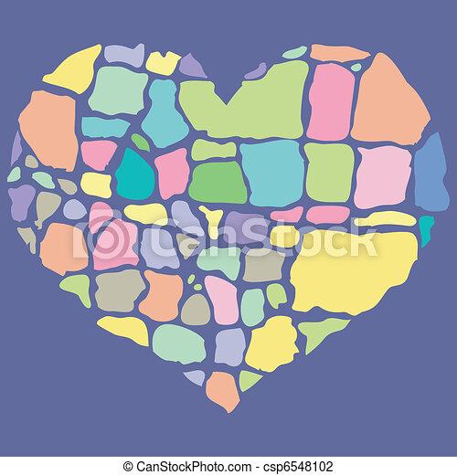 vector illustration of broken colorful heart - csp6548102