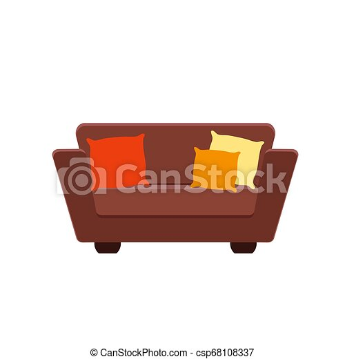 Cool Vector Illustration Of Brown Couch With Pillows Andrewgaddart Wooden Chair Designs For Living Room Andrewgaddartcom