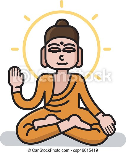 Vector Illustration Of Buddha Sitting In The Lotus Position Meditation Simple Icon Cartoon Character