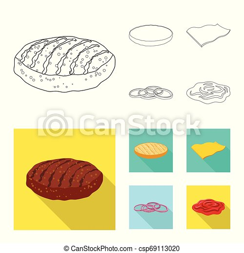 Vector illustration of burger and sandwich icon. Collection of burger and slice stock symbol for web. - csp69113020
