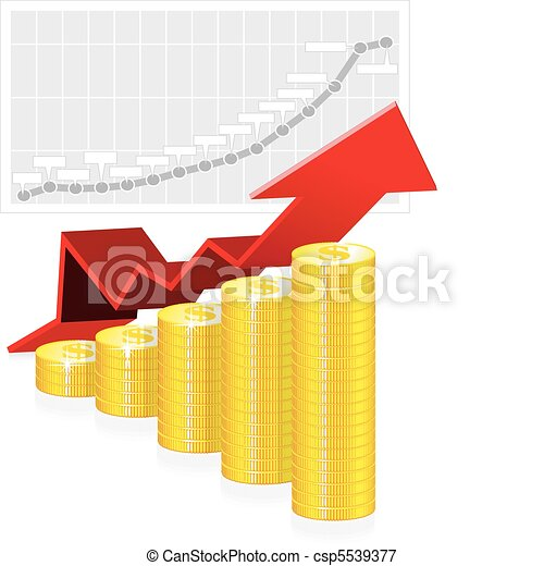 Vector illustration of business graph with coins - csp5539377