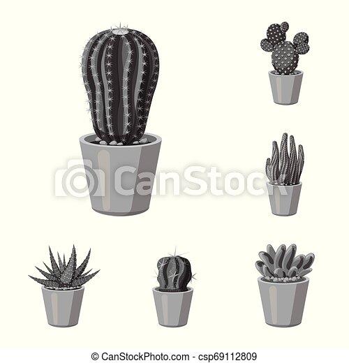 Vector illustration of cactus and pot logo. Collection of cactus and cacti stock vector illustration. - csp69112809