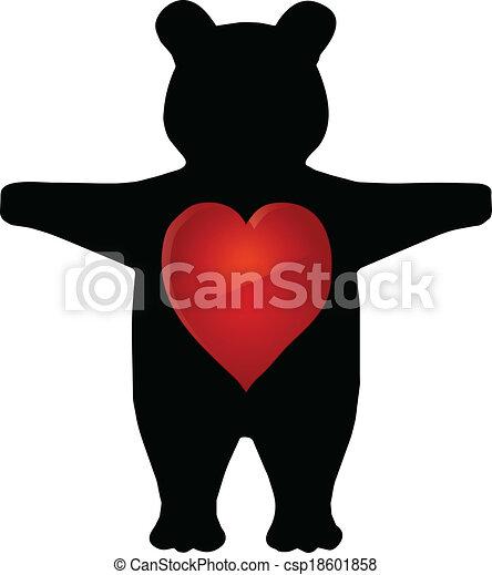vector illustration of cartoon teddy bear - csp18601858