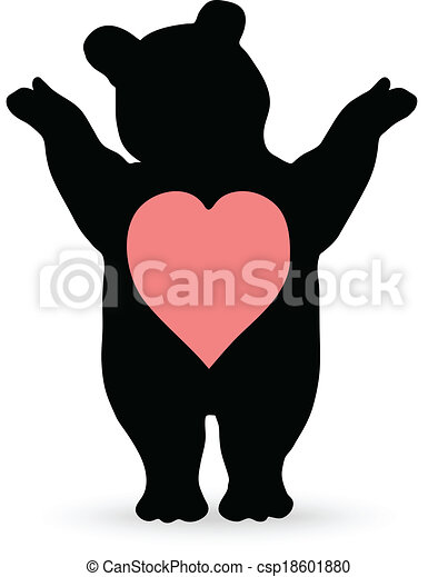 vector illustration of cartoon teddy bear - csp18601880