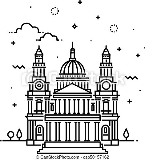 Vector Illustration of Cathedral Icon Outline - csp50157162