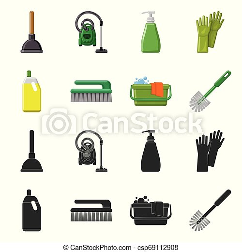 Vector illustration of cleaning and service logo. Collection of cleaning and household vector icon for stock. - csp69112908