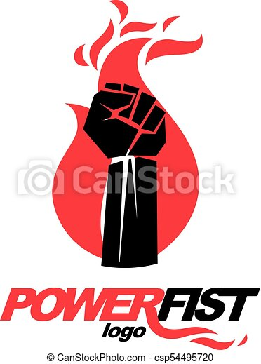 Vector Illustration Of Clenched Fist In The Burning Fire Vector