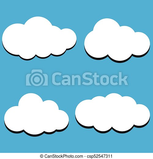 Vector Illustration Of Clouds Collection Background Cloud Symbols