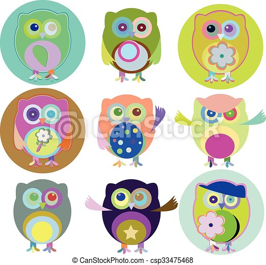 Vector illustration of colorful owls with nine color combinations - csp33475468