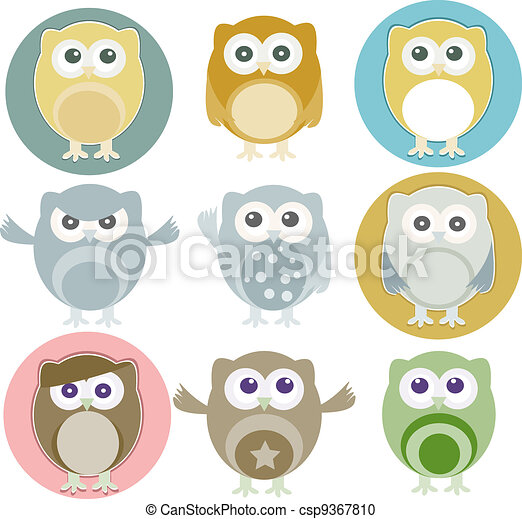 Vector illustration of colorful owls with nine color - csp9367810