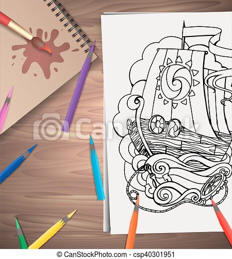 Vector illustration of coloring adults ship with colored pencils on the table. Example for presentations and your design - csp40301951