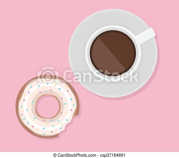 Vector illustration of cup of coffee and donut. View from above. Lunch. - csp37184691