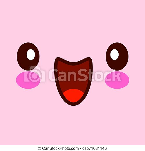 Vector illustration of cute face. Kawaii face with eyes. isolated on pink background EPS - csp71631146