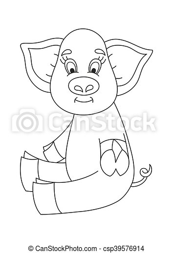 Vector illustration of cute pig, funny piggy, coloring book. Vector ...