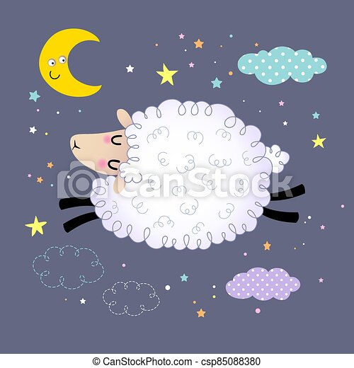 Vector illustration of cute sheep jumping in the night sky. - csp85088380