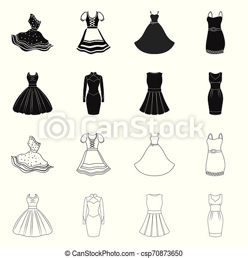 Vector illustration of dress and clothes symbol. Collection of dress and evening vector icon for stock. - csp70873650