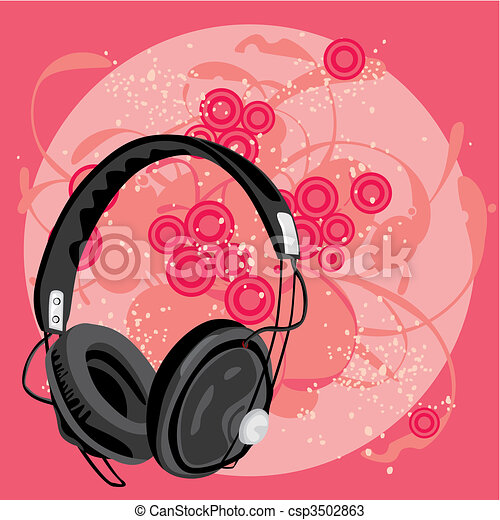 vector illustration of earphone with grunge background  - csp3502863