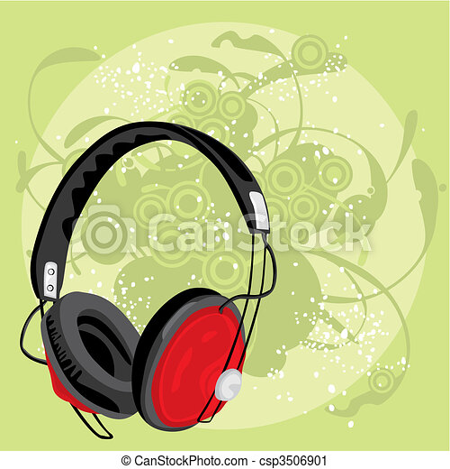 vector illustration of earphone with grunge background - csp3506901