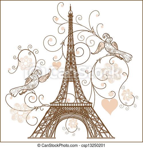 Vector illustration of Eiffel tower - csp13250201