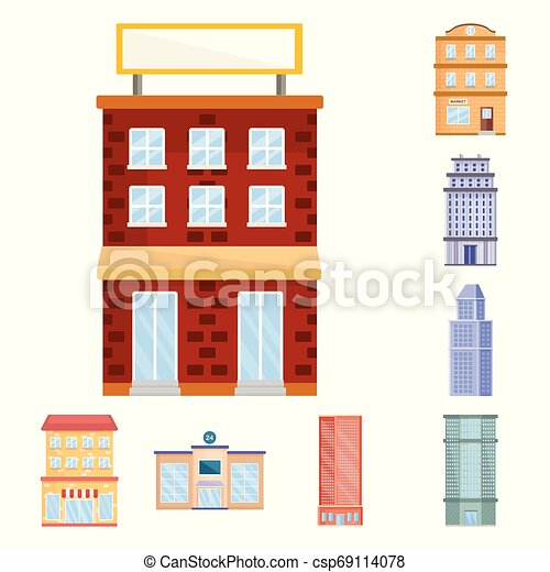 Vector illustration of facade and building icon. Collection of facade and exterior vector icon for stock. - csp69114078