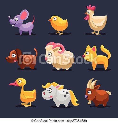 Vector Illustration of Farm Animals - csp27384589