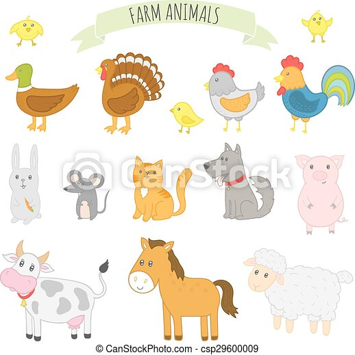 Vector illustration of farm animals - csp29600009